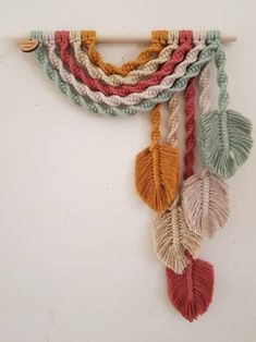 G u m n u t ~ Upside down Rainbow Feather Wall Hanging Macrame Design, Macrame Art, Macrame Projects, Crochet Projects, Macrame Knots, Macrame Wall Hanging Patterns, Macrame Patterns, Crochet Patterns, Quilt Patterns
