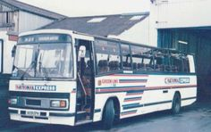12metre Leyland Tiger TPL59 in National Express livery with destination set for Heathrow Airport laying over at Guildford garage