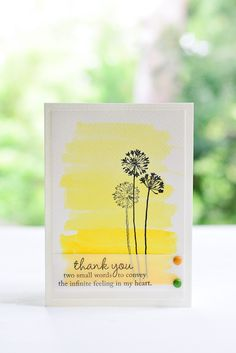 Watercolor Thank You Card *edit* made this card with cheap kids watercolor paint, a thick brush and ctmh stamp and the phrase on the vellum as shown. So simple and fun!