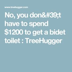No, you don't have to spend $1200 to get a bidet toilet : TreeHugger