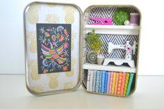 Tiny Tin Sewing Room ~ B & W Herringbone Wall Paper by TeaRoseCompany on…