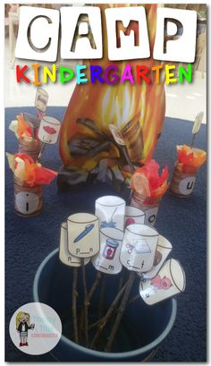 Camp Kindergarten: 8 Camp-Themed Literacy Centers for Kindergarten - Camp themed literacy centers. Camp themed s'mores vowel/cvc sort. Kindergarten Centers, Kindergarten Reading, Kindergarten Classroom, Classroom Themes, Literacy Centers, Math Literacy, Teaching Phonics, Kindergarten Activities, Classroom Activities