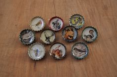 10 Hipster Recycled Beercap brooch pins vintage illustrations by MugaMugaSouthAfrica on Etsy