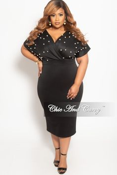 9416f537c51e Plus Size Pearl Beaded Faux Wrap BodyCon Dress in Black – Chic And Curvy  Chic And