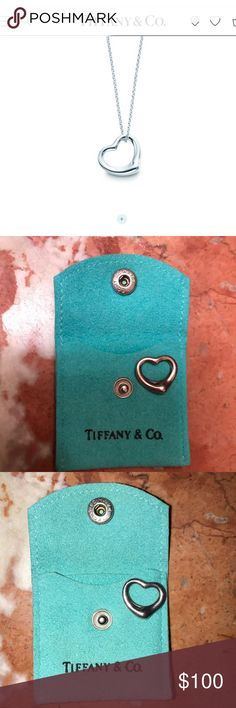 FINAL SALE Tiffany & Co heart necklace Tiffany heart,  original Tiffany chain included. Comes with pouch. Normal wear. Tiffany & Co. Jewelry Necklaces