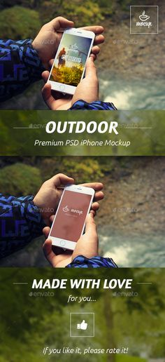 Buy iPhone PSD Mockup in Outdoor by Mocup on GraphicRiver. PSD Mockup of the white iPhone 6 called Outdoor. Ready to present your adventure design.
