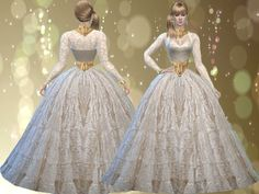 Lace off white Ball Gown http://www.thesimsresource.com/members/TrudieOpp/downloads/details/category/sims4-clothing-female-teenadultelder-formal/title/lace-off-white-ball-gown-mesh-needed/id/1343273/