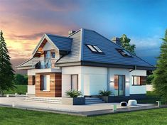 Projekt domu Alicja N 2G 137,65 m2 - koszt budowy 245 tys. zł - EXTRADOM Home Building Design, Building A House, House Outside Design, House Design, Cottage Exterior, Architectural Design House Plans, Modern Architecture, Bungalow, Home Fashion