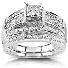 Princess Diamond Wedding Ring Set 1 Carat (ctw) in 14K White or Yellow Gold_7.0_14k White Gold