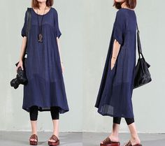 Loose DressCasual Linen DressLoose Fitting Woman by guidacloting