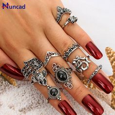 New Fashion Elephant Midi Rings Set Carved Black Stone Knuckle Ring Hollow Crown Boho Ring Jewelry F Boho Rings, Boho Jewelry, Jewelry Sets, Jewelry Rings, Jewelry Accessories, Women Jewelry, Diamond Jewelry, Bridal Jewelry, Cheap Jewelry