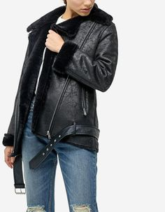 Double-sided oversized biker jacket - Dzsekik | Stradivarius Hungary