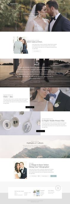 A website template designed especially for videographers. With plenty of space to show off your work, two header layouts, two blog layouts and galleries built with video in mind, St. Augustine has everything a videographer needs to turn site visitors into clients. For drag & drop website editor Showit by Davey & Krista.