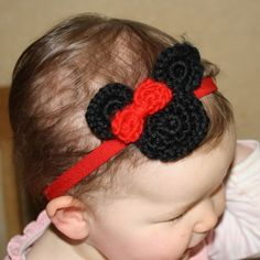 Minnie Mickey Mouse Crochet Headband - *Inspiration* 1 3-row sc circle, 2 2-row sc circles and 1 red bow all sewn to each other and glued or sewn to a purchased headband