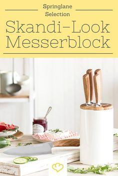 Für alle die den Skandinavischen Look lieben: Keramik Design Messerblock mit Edelholzeinsatz 6 tlg.
