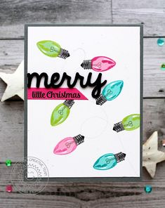 Sunny Studio Stamps: Merry Sentiments Vintage Light Bulbs Holiday Christmas Card by Vanessa Menhorn.