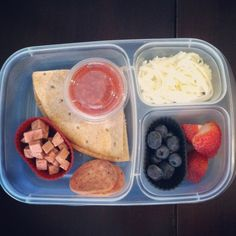 So cute! Build your own Pizza Lunch for kids (or adults!) Lots of great easy lunch ideas here.