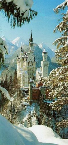 Neuschwanstein Castle above the village of Hohenschwangau in southwestern Bavaria