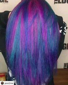 By Jessica Toomey The Edge Salon by Mystic Hair, Mermaid hair slow Color Your Hair, Hair Dye Colors, Ombre Hair Color, Cool Hair Color, Purple Hair, Galaxy Hair Color, Pelo Color Morado, Underdye Hair, Bob Rubio