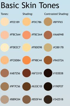 This is a list of common skin tones! To produce the shading colors, duplicate the layer in which just the base color is on and set it to multiply. To get the contrasted shading, which is probably a...