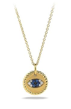 David Yurman 'Cable Collectibles' Evil Eye Charm Necklace with Blue Sapphire, Black Diamonds and Diamonds in Gold available at #Nordstrom