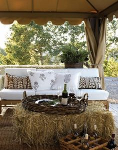 Let's Go Outside....love the haystack as a table. Great party idea.