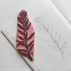 sketch and lino carving / leaf stamp // studiowaterstone