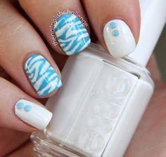 the nail polish challenge: Neon Nail Studs and Zebra Print