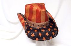 f4860478c0b NEW Patriotic Cowboy Hat Red Blue Tan Straw Stars Stripes American Flag  Retro