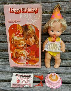 Vtg 1975 MATTEL Happy Birthday BABY TENDER LOVE DOLL w/ Accessories + Box #9540 #Mattel #Dolls #TenderLove #Birthday