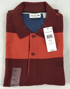 Lacoste Mens SPORT Polo Shirt NWT Striped Pinot Red Tango Orange EU 7 US XXL