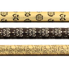 3 Rolls of Black and Gold Foil Giftwrap