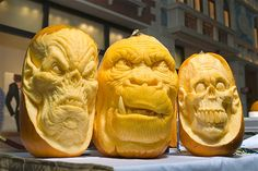 These pumpkins were carved by Ray Villafane and Andy Bergholtz (who created the middle piece) and were displayed during a pumpkin-carving exhibition in the Grand Canal Shoppes at The Venetian hotel-casino in Las Vegas in 2011.
