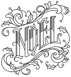 Victorian-style typography gives this NOEL design timeless flair. Christmas Embroidery Patterns, Hand Embroidery Patterns, Embroidery Stitches, Embroidery Designs, Christmas Coloring Pages, Coloring Book Pages, Coloring Sheets, Christmas Colors, Christmas Crafts