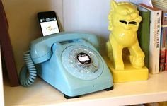 Tiffany Blue Rotary Phone Dock Speaker
