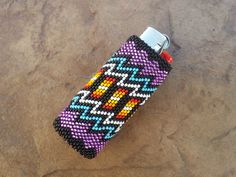 Native American Beaded Lighter Cover/Case by AmandasBeadingHeart Indian Beadwork, Native Beadwork, Native American Beadwork, Native Beading Patterns, Seed Bead Patterns, Beaded Jewelry Patterns, Lighter Case, Bic Lighter, Peyote Stitch Patterns