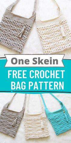 One Skein Crochet, Free Crochet Bag, Crochet Pouch, Crochet Market Bag, Simple Crochet, Beginner Crochet Pattern Free, Crochet Handbags, Crochet Purses, Crochet Stitches Patterns