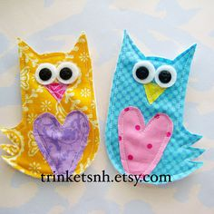 Bright Eyed Owl Fabric Appliques Set of Two by trinketsnh on Etsy, $8.95