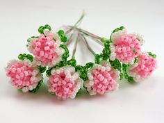 Vintage French Beaded Flower Buds Pink and Pearly White Perfect for Wedding Accessories A1 #handmade #design