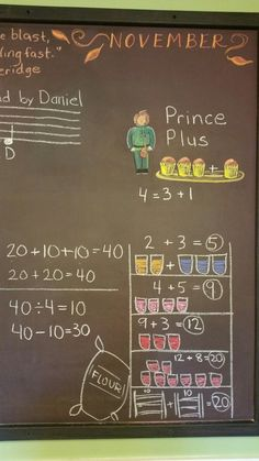 Prince Plus and the Forty Jars of Jam (a story I made up, that we worked out on the board as we went). Prince Divide came along after, and then Princess Minus. Second Grade Math, First Grade, Grade 1, Abc School, School Fun, Math For Kids, Fun Math, Kindergarten Math, Teaching Math