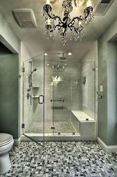 Nice Shower Shower Seat, Walk In Shower, Jacuzzi Tub, Bathtub, Big Bathrooms, Master Bathroom, Luxury Bathrooms, Bathroom Hooks, Bath Accessories