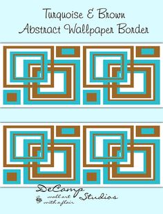 Turquoise Blue and Brown Square Abstract Wallpaper Border Wall Art Decals for teen boys bedroom or any abstract modern art home wall decor #decampstudios