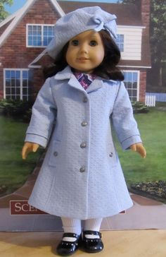 Spring Blue Classic Coat and Beret - Clothes fit American Girl Doll, An Original KeepersDollyDuds Design. $124.49, via Etsy.