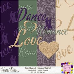 Love, Dance & Romance [Lori Moore] - This mini-kit is full of glitz and glitter. It is perfect for scrapping a night out with your love. Romance, Kit, Digital Scrapbooking, Sisters, Paper, Romantic Things, Big Sisters, Romances, Romantic