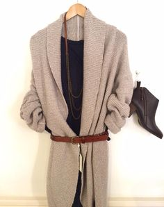 Part Two wool cardigan £99.95. Part Two 3/4 sleeve navy top £44.95. Part Two denim jeans £74.95. Cara dark brown leather zip up ankle boots £115. Tutti & Co leather and antique gold chain necklace £45. Part Two leather plaited belt £49.95 with 50% off £24.97.