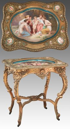 190: Royal Vienna style porcelain and gilt-wood table, : Lot 190