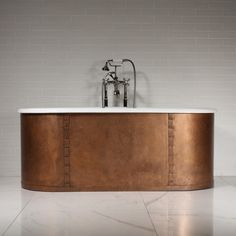 'The Ulverscroft' Cast Iron Doubed Ended Tub Package (Aged Copper Skirt) Washroom, Aged Copper, Copper Rivets, Iron, Cast Iron Tub, Copper, Tub, Contemporary Design, Faucet