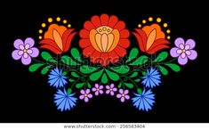 Illustration about Traditional Hungarian folk embroidery pattern isolated on black. Illustration of ornament, broidery, kalocsai - 51512902 Hungarian Embroidery, Folk Embroidery, Learn Embroidery, Indian Embroidery, Polish Embroidery, Embroidery Online, Embroidery Saree, Ribbon Embroidery, Chain Stitch Embroidery