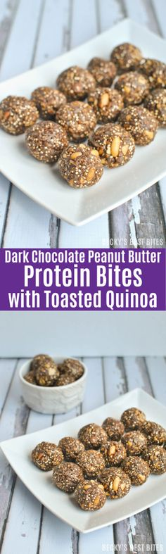 Quick, easy and healthy, these Dark Chocolate Peanut Butter Protein Bites with Toasted Quinoa are a perfect on-the-go breakfast, after-school snack or treat. | beckysbestbites.com