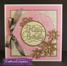 Card made using Sara Signature Birthday Party collection –  Birthday Wish dies and Birthday Party paper pad. Designed by Allison Hugill #crafterscompanion